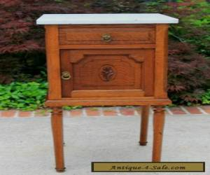 Antique French Oak Marble Top Art Deco Side Cabinet Lamp or End Table Nightstand for Sale