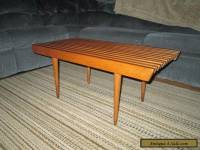 "Vintage 36"" Mid Century Danish Modern Slat Bench / Coffee Table Stand REAL NICE"