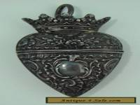 Chatelaine Heart Crown Locket Box Sterling Silver 1800's ?? Stamped Repousse