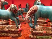 Rare Set of Eight Chinese Antique Blue Glazed Horses with Original Box.