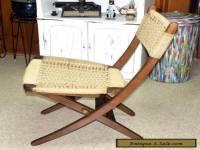 Vtg. Mid Century Danish Modern Folding Wood Rope Chair ( Needs TLC )