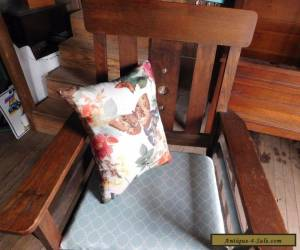 Solid Mission Oak High back Vintage Chair with arms for Sale