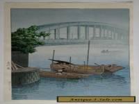 HASUI Japanese Woodblock Print, Eitai Bridge 1937