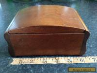 Old wooden box antique/vintage with two Mackenzie smelling salts bottles etc