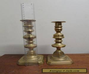 Two Victorian Brass Candle sticks irregular pair pop outs for Sale
