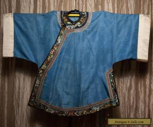 19th c Antique Chinese Robe Embroidered Silk Qing Dynasty sleeve band detail for Sale