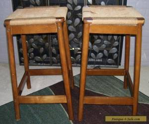 VINTAGE MID CENTURY DANISH MODERN WOVEN BAR STOOLS- TEAK WOOD   for Sale