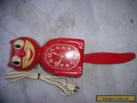 Vintage American Art Deco Red 1940's Kit Cat Electric Clock