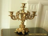 Old Antique Vintage French Gold Spelter Metal Victorian Candelabra Candlestick