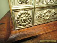 Antique Art Nouveau Brass and oak letter box / Stationery. Beautiful.