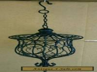 Vintage Large Black Decorative Wrought Iron Hanging Candle Holder