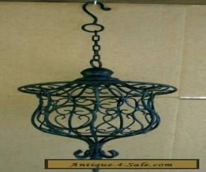 Vintage Large Black Decorative Wrought Iron Hanging Candle Holder for Sale