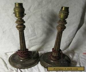 Pair of Antique WOODEN ELECTRIC LAMP Bases - Need TLC for Sale