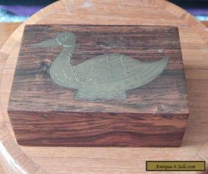 Indian Hardwood Box Stamp? Brass Duck Inlaid lid for Sale