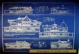 """Vintage House Ocean Front Sea Cottage 1881 Blueprint 24"""" x 32""""   (058) for Sale"""