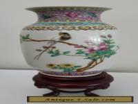 Famille Rose Vase on Stand