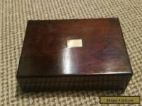 Lovely antique wooden box with square inlay on lid