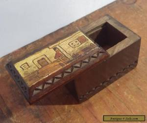 Charming Vintage Miniature Carved Wooden Box with Pokerwork Decoration for Sale