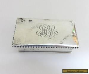 Antique England Sterling Silver Stamp Trinket Box ~ Engraved: MBR for Sale