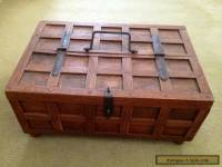 Small Solid Wooden Box With Hinged Half Lid And Handle. Immaculate.