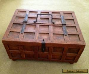 Small Solid Wooden Box With Hinged Half Lid And Handle. Immaculate. for Sale
