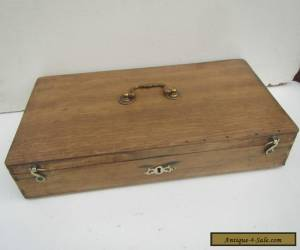 Vintage Stripped Pine & Oak Box with Brass Handle & Catches for Sale