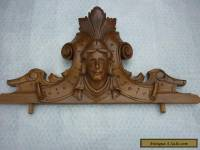 antique french carved wood pediment. walnut
