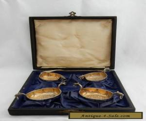 RARE Antique Boxed Set Marius Hammer Solid Silver 830 Viking Salt Cellars Dishes for Sale