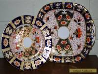 Antique DAVENPORT imari cake plate and large side plate