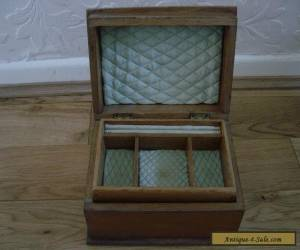 VINTAGE WOODEN JEWELLERY BOX WITH DOVETAILS AND PADDED for Sale