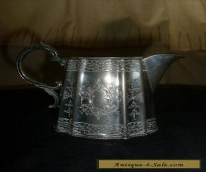 Stunning Antique Silver Plated Chased Milk Jug for Sale