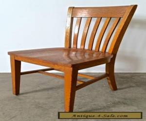 Vintage Antique Oak Wood Slat Back School Office Dining Cafe Side Chair #1 for Sale