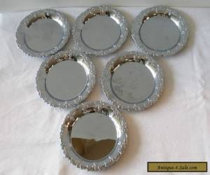 MINT CONDITION! PRETTY SET OF 6 SILVER PLATED COASTERS WITH GRAPE DESIGN! for Sale