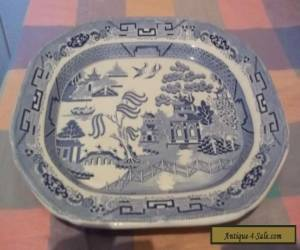 Large Flow Blue Willow pattern tray  by Waterloo Warranted for Sale