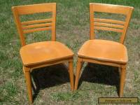 Pair of Danish style Maple wood Courthouse chairs..