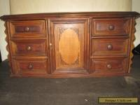 Antique Chest Walnut French Cabinet Table Top Six Drawer One Door Inlaid