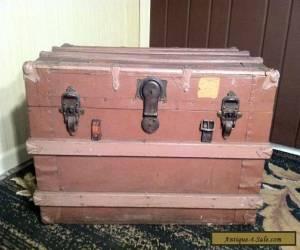 Antique Vintage Steamer Trunk Metal & Wood - Victorian circa 1890! for Sale