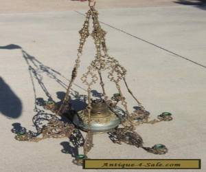 Antique French Louis XVI Gothic Gilt Bronze Hanging Oil Lamp Chandelier for Sale