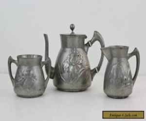 Kayserzinn German Art Nouveau Pewter Small Tea Set 1890s for Sale