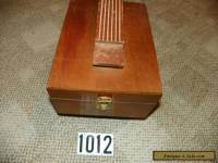 VINTAGE WOODEN  SHOE SHINE BOX   WITH BRUSHES, LOOKS LIKE OAK