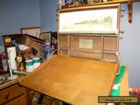 Antique Child's Chautauqua Industrial Art Desk With Chalkboard And Scroll 1913