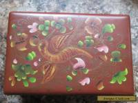 Vintage Wooden Hinged Box Hand Painted hummingbird trinket jewelry