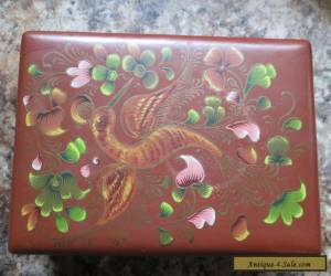 Vintage Wooden Hinged Box Hand Painted hummingbird trinket jewelry for Sale