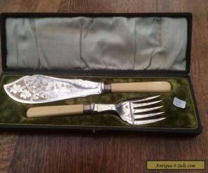 Antique fish server set in original box with sterling silver bands for Sale
