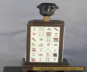 Custom Made Lamp Base Using Antique Mahjong Tiles Set In Rose Wood Working Order for Sale