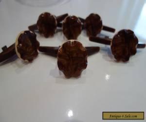 ART DECO ORIGINAL HANDLES BAKELITE SET OF SIX BROWN for Sale