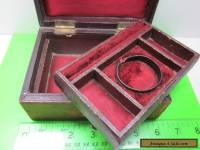 ANTIQUE OLD VINTAGE JEWELLERY BOX DRESSING TABLE TRINKET  RING WATCH BOX KEY
