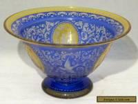 Antique 2 Color Engraved Czech Art Glass Pedestal Bowl Castles & Bird - Bohemian