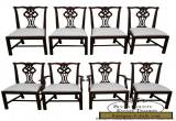 Lexington Solid Mahogany Set of 8 Chippendale Style Dining Chairs for Sale