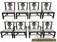 Lexington Solid Mahogany Set of 8 Chippendale Style Dining Chairs
